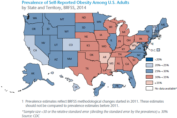 Prevalence of Self-Reported Obesity Among U.S. Adults by State and Territory, BRFSS, 2014