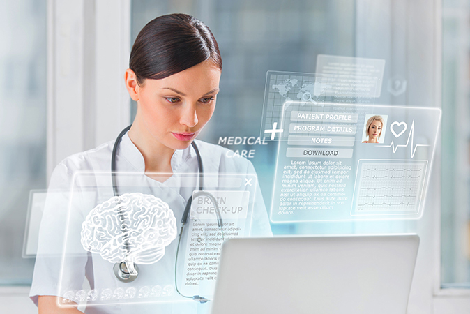 A physician looking at a patient file using augmented reality
